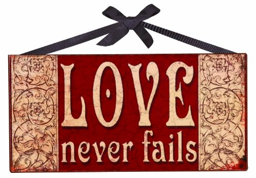 Manual Woodworkers & Weavers Love Never Fails Wooden Sign, 6 by 3-Inch