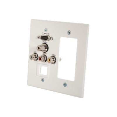 C2g 41030 Vga  3.5mm Audio  Composite Video And Rca Stereo Audio Pass Through Double Gang Wall Plate With One Decorative Style Cutout And One Keystone - White B