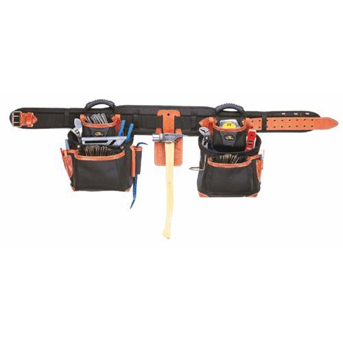 Custom Leathercraft 51449 25 Pocket 4 Piece Top-Of-The-Line Pro-Framers Combo Tool Belt System