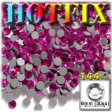 144pc Superior quality glass DMC HOTFIX Rhinestones Round 6mm (30ss) Hotfix rhinestones Hot Pink or Rose HPK