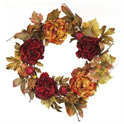 24 Artificial Burgundy and Beige Autumn Peony Flower and Berry Cluster Wreath - Unlit