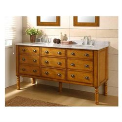 70 Inch Harvest Double Bathroom Vanity Set with Carerra White Marble Top
