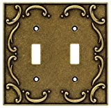 Brainerd 126349 Casual French Lace Double Switch Wall Plate / Switch Plate / Cover, Burnished Antique Brass