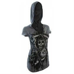 Sons Of Anarchy Reaper Hooded Juniors Tee Shirt
