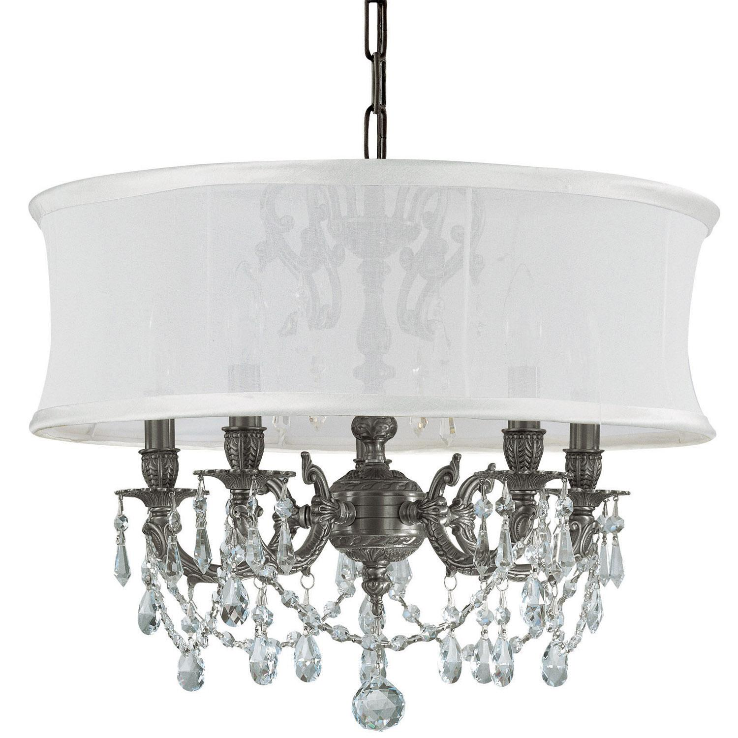 Crystorama 5535-PW-SMW-CLM Ornate Pewter chandelier with Majestic Wood Polish Crystal Chandelier with a Smooth Antique White Silk Shade