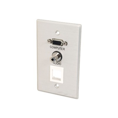 C2g 40572 Vga   3.5mm Audio Pass Through Single Gang Wall Plate W/1 Keystone-brushed Aluminum - Mounting Plate - Hd-15  Mini-phone Stereo 3.5 Mm - Brushed Alumi