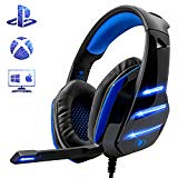 Gaming Headset for PS4 Xbox One PC, Beexcellent Noise Reduction Crystal Clarity 3.5 mm Professional Game Headphones with Microphone for Laptop Tablet Mac … (Blue)
