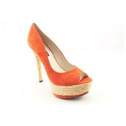 Mojo Moxy Tropicana Womens Orange Peep Toe Suede Platforms Heels Shoes