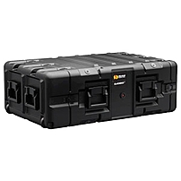 "Hardigg Blackbox 3u Rack Mount Case - Internal Dimensions: 24"" Length X 19"" Width X 5.25"" Height - External Dimensions: 38.5"" Length X 24.6"" Width X 11.4"" Depth - 100 Lb - Latching Closure - Polyethylene, Steel - Black - For Audio Equipment, Video Equipme Blackbox-3u-m6"
