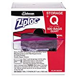 Ziploc 94601 Double Zipper Storage Bags, Plastic, 1qt, Clear, Write-On ID Panel (Box of 500)