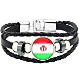 YouMiYa 2018 World Cup Adjustable Faux Leather Cuff Bracelet National Flag Punk Jewelry (Iran)