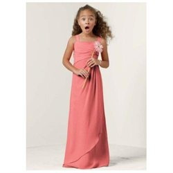 David's Bridal Sleeveless Crinkle Chiffon Bridesmaid Dress with Twist Front Size 8 GUAVA