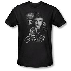 Mens ELVIS Short Sleeve THE KING RIDES AGAIN Large Slim Fit T-Shirt Tee