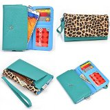 HTC Desire 816 Case (Aqua Green and Leopard Print / Electric Blue Interior) - Universal Women's Wristlet Clutch with Credit Card Holder and Coin Pouch