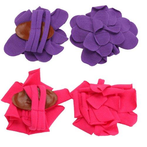 2 Pairs Infant Baby Newborn Cotton Barefoot Petals Flower Sandals Shoes Socks Feet Deco Purple&Rose