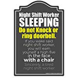 Night Shift Worker Sleeping Novelty Sign | Indoor/Outdoor | Funny Home Décor for Garages, Living Rooms, Bedroom, Offices | SignMission Wall Gag Gift Sign Decoration