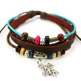 November's Chopin (TM) Art Cross Pendant Colorful Wood Beads Adjustable Charm Wrap Bracelet