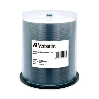 Verbatim 95253 100 X Cd-r (80min) 52x - White - Thermal Transfer Printable Surface  Photo Printable Surface - Spindle