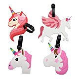 Mziart Cute Unicorn Luggage Tags for Kids Women Girls Travel Baggage Tags Suitcase Bag Lables Backpack Identifier, Set of 4
