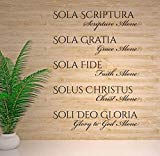 The Five Solas Scripture Grace Faith Christ Glory to God Alone Church Decor - Reformation Essentials - Christian Latin Phrases Decor Large Decals for Walls - Custom Color