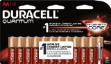 Duracell Quantum QU1500B12Z11 Alkaline-Manganese Dioxide AA Battery, 1.5V, -4 to 130 Degrees F (Pack of 12)