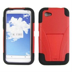 HTC First PM33100 Protector Skin Cover - Hybrid Red/Black w/ Y Stand