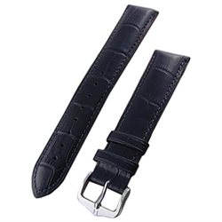 Hirsch Duke Black Alligator Embossed Natural Leather Watch Strap 010280-50-24