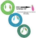 NEWLY DESIGNED High Quality - 6ft(2m) Braided Nylon Lightning Charging Cables for Apple iPhone 5 5C 5S, iPhone 6 6 Plus, iPad 4 Mini, iPod Touch 5/Nano 7, 8 pin to USB -3pack(teal grean blue)