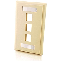C2g 3-port Single Gang Multimedia Keystone Wall Plate - Ivory - 3 X Socket(s) - Ivory 757120037125