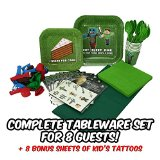 Tableware for Mining Themed Parties (Service for 8) - New Thicker Plates! - Party Supplies Includes Plates, Cups, Forks, Spoons, Napkins, Balloons, Table Cloth, 8 BONUS Miner Kid's Tattoo Packs!