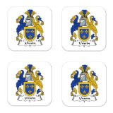 Unwin Or Unwyn Family Crest Square Coasters Coat of Arms Coasters - Set of 4