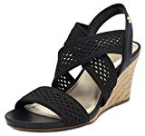 London Fog Womens Pickwick Open Toe Espadrille Stretch Wedge Sandals Black 6