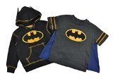 Batman Vs Superman Little Boys Hoodie T-shirt & Cape 3pc Set (3T, Batman)