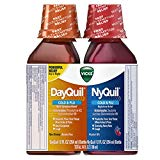 Vicks NyQuil and DayQuil Cough Cold and Flu Relief Liquid, 12 Fl Oz, pack of 2