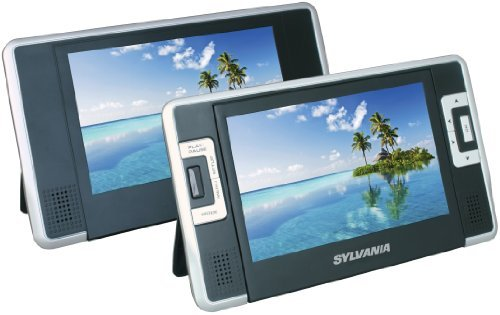 Sylvania SDVD8732 7-Inch Dual Screen Portable DVD Player with Built In 5 Hour Battery Life and USB/SD Card Reader