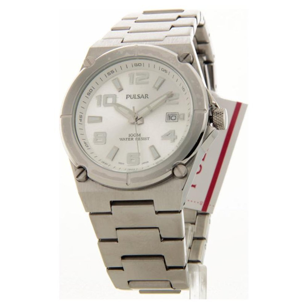 Mens Pulsar Stainless Steel Silver Dial Date 10ATM Casual Watch PXH687