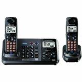 Panasonic KX-TG9382T 2-Line Expandable Digital Cordless Phone with Answering System, Metallic Black, 2 Handsets