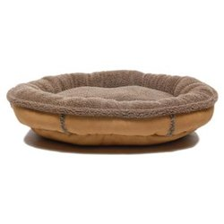 Faux Suede Oblong Comfy Cup Dog Bed in Tan - Size: Medium - 36 x 33