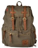 AM Landen Rucksack Canvas Backpack Leather Straps School Bag Travel Ship From US (Green/Brown)