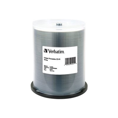 Verbatim 95251 100 X Cd-r - 700 Mb (80min) 52x - White - Ink Jet Printable Surface - Spindle
