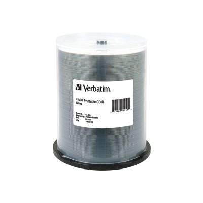 Verbatim 95251 100 X Cd-r - 700 Mb ( 80min ) 52x - White - Ink Jet Printable Surface - Spindle