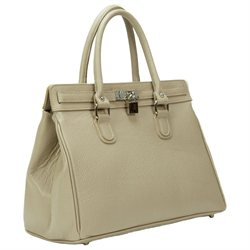 HS 5097 OFELIA TP Made in Italy Grainy Leather Taupe Beige Versatile Large Tote