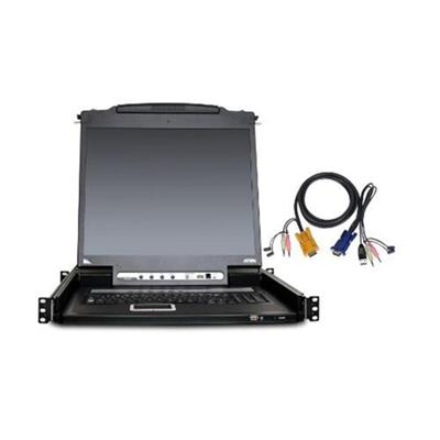 Aten Technology Cl5708mukit Cl5708m - Kvm Console With Kvm Switch - 8 Ports - 17 - Rack-mountable - 1280 X 1024 - Vga - 1u