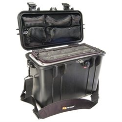 Pelican 1434 Top Loader Case with Padded Dividers & Lid Organizer - Internal Dimensions: 5.76 Width x 11.70 Depth x 13.56 Height - External Dimensions: 9.6 Width x 13.4 Depth x 16.9 Height - Black - Military
