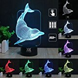 3D Illusion Animal Dolphin LED Desk Table Night Light Lamp 7 Color Touch Lamp Kiddie Kids Children Family Holiday Gift Home Office Childrenroom Theme Decoration by HUI YUAN
