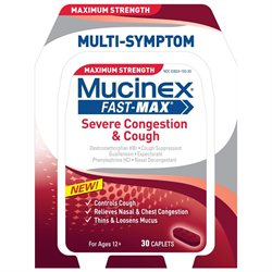 Mucinex Fast-max Adult Severe Congestion And Cough Caplets, 30 Count