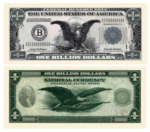 SET OF 10 BILLS-CLASSIC BILLION DOLLAR BILL-AAC