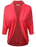 Doublju Soft Knit Dolman Sleeve Loose Fit Open Cardigan For Women With Plus Size NEONCORAL LARGE
