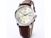 Orkina Mens Boyfriend White Dial Date Sport Quartz Coffee Leather Wrist Watch