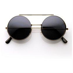 zeroUV - Limited Edition Color Flip-Up Lens Round Circle Django Sunglasses (Gunmetal)